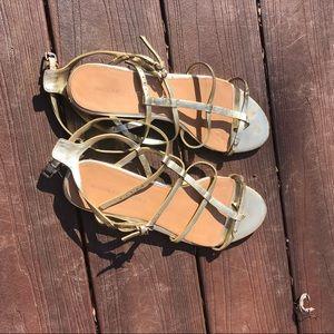 ⚜️ Gold Strappy Badgley Mishka Gladiator Sandals